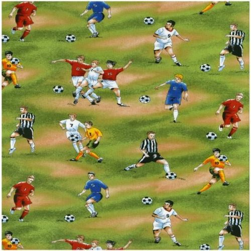 Nutex Fabric - Football Fever - Green - 100% Cotton - 1/4m+