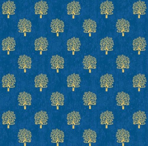 Makower Fabric - Rhapsody - Metallic Trees - Blue - 100% Cotton - 1/4m+