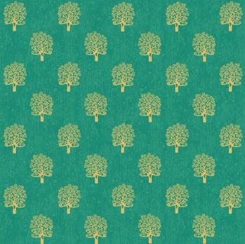 Makower Fabric - Rhapsody - Metallic Trees - Green - 100% Cotton - 1/4m+