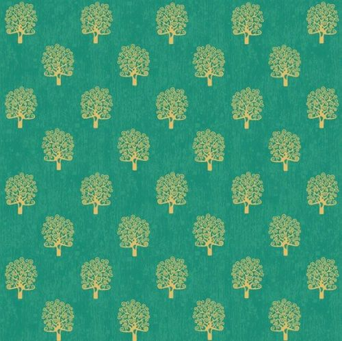 Makower Fabric - Rhapsody - Metallic Trees - Green - 100% Cotton - 1/4m+