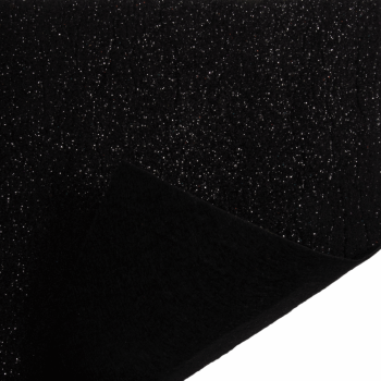 Glitter Felt Fabric Sheet - Black - 100% Polyester - Sheet