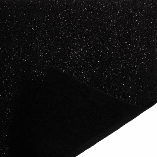 Glitter Felt Fabric Sheet - Black - 100% Polyester - Sheet