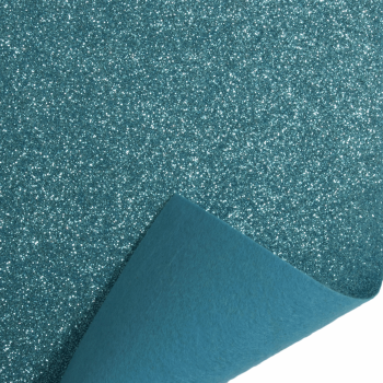 Glitter Felt Fabric Sheet - Blue - 100% Polyester - Rectangular Sheet
