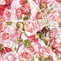 Michael Miller Fabric - Flower Fairies - Sweet Garden - Rose - 100% Cotton - 1/4M+