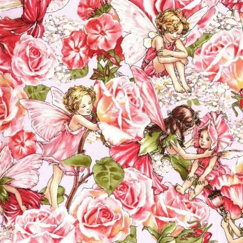 Michael Miller Fabric - Flower Fairies - Sweet Garden - Rose - 100% Cotton - 1/4M+