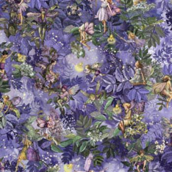 Michael Miller Fabric - Night Fairies Allover - Nite - 100% Cotton - 1/4M+