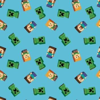 Minecraft Fabric - Friends - Blue - 100% Cotton