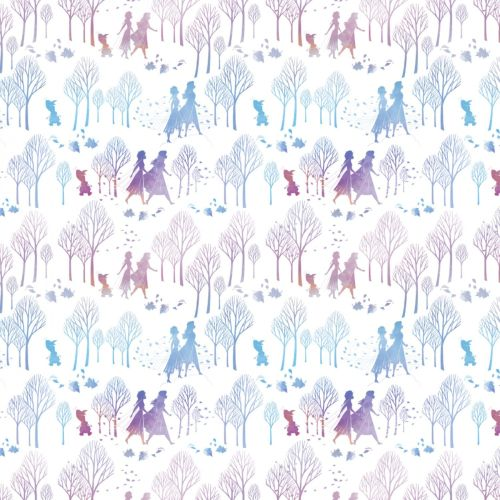 Disney Fabric - Frozen 2 - Character and Tree Silhouette - 100% Cotton - 1/