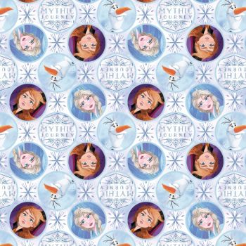Disney Fabric - Frozen 2 - Elsa, Anna and Olaf Mythic Journey Badges - 100% Cotton - 1/4m+