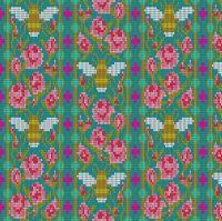 Andover Fabric - Alison Glass - Handiwork - Beadwork - Peacock - 100% Cotton - 1/4m+