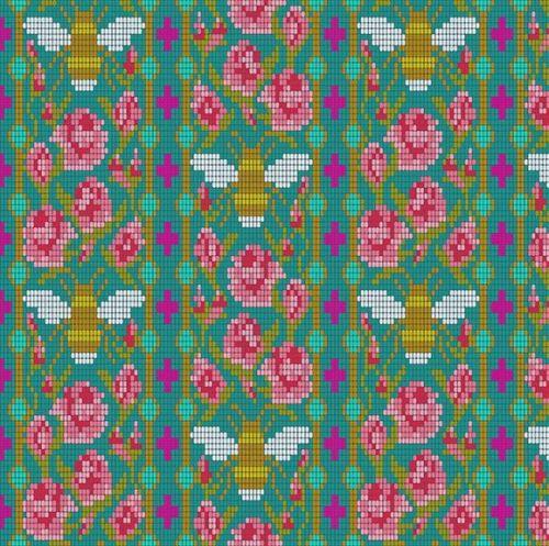 Andover Fabric - Alison Glass - Handiwork - Bead Work - Peacock - 100% Cott