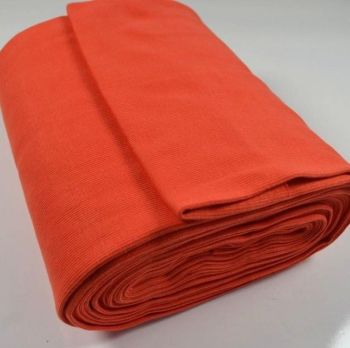Stretch Ribbing/Collar/Cuff Fabric - Plain Orange HW - 95% Cotton 5% Lycra Half Metre