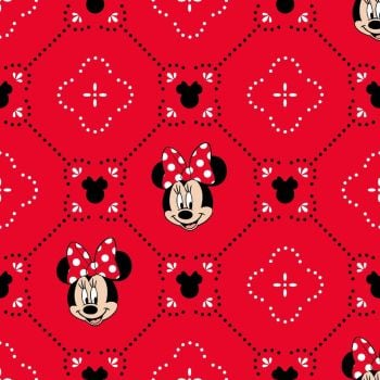 Disney Fabric - Minnie Mouse - Smile - Red - 100% Cotton - 1/4m+