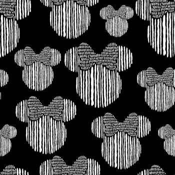 Disney Fabric - Minnie Mouse - Head Sketch - Black - 100% Cotton - 1/4m+