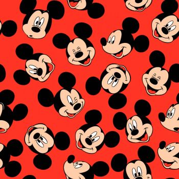 Disney Fabric - Mickey Mouse - Face Toss - Red - 100% Cotton - 1/4m+