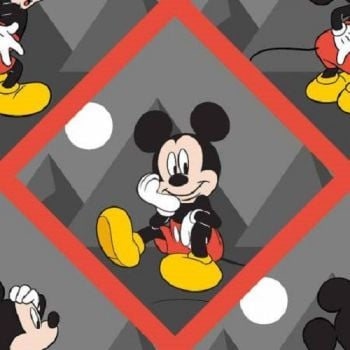 Disney Fabric - Mickey Mouse - Tiles - Grey - 100% Cotton