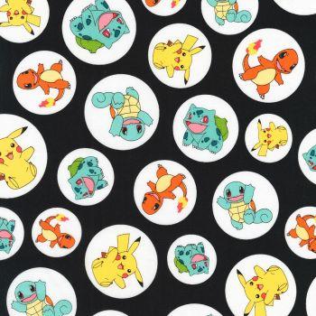 Pokemon Fabric - Pokemon in Circles - Black - 100% Cotton - 1/4m+