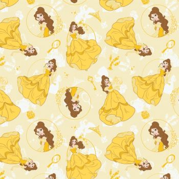 Disney Fabric - Belle Allover - Yellow - 100% Cotton - 1/4m+