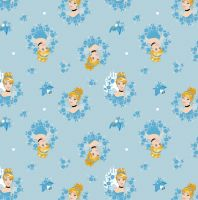 Disney Fabric - Cinderella in Wreaths - Blue - 100% Cotton - 1/4m+