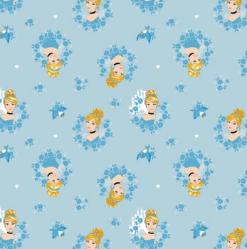 Disney Fabric - Cinderella in Wreaths - Blue - 100% Cotton - 1/4m+