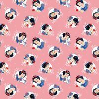 Disney Fabric - Snow White in Circles - Coral - 100% Cotton - 1/4m+