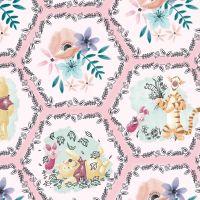 Disney Fabric - Winnie the Pooh - Pooh & Friends - Hexagons - 100% Cotton - 1/4m+