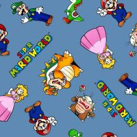 Nintendo Fabric - Super Mario World - Mario and Friends - Blue - 100% Cotton  - 1/4m+