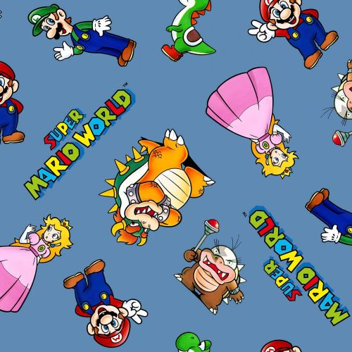 Nintendo Fabric - Super Mario World - Mario and Friends - Blue - 100% Cotto