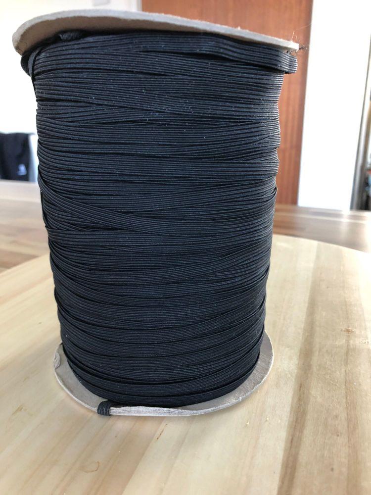 Black Flat Corded Elastic - Cord 8, 6mm