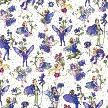Michael Miller Fabric - Petite Flower Fairies - Periwinkle - 100% Cotton - 1/4M+