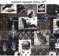Michael Miller Fabric - Nevermore Collage - Black - 100% Cotton - Half Metre