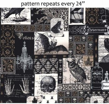 Michael Miller Fabric - Nevermore Collage - Black - 100% Cotton - Half Metre
