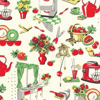 Michael Miller Fabric - Fifties Kitchen - Cream - 100% Cotton - 1/4M+
