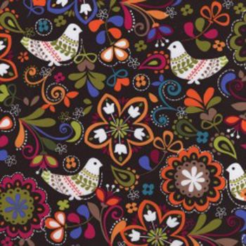 Michael Miller Fabric - Birds of Norway - Espresso - 100% Cotton - 1/4M+