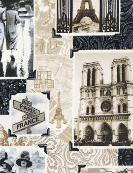 Timeless Treasures Fabric - April in Paris Patchwork - 100% Cotton - 1/4m+