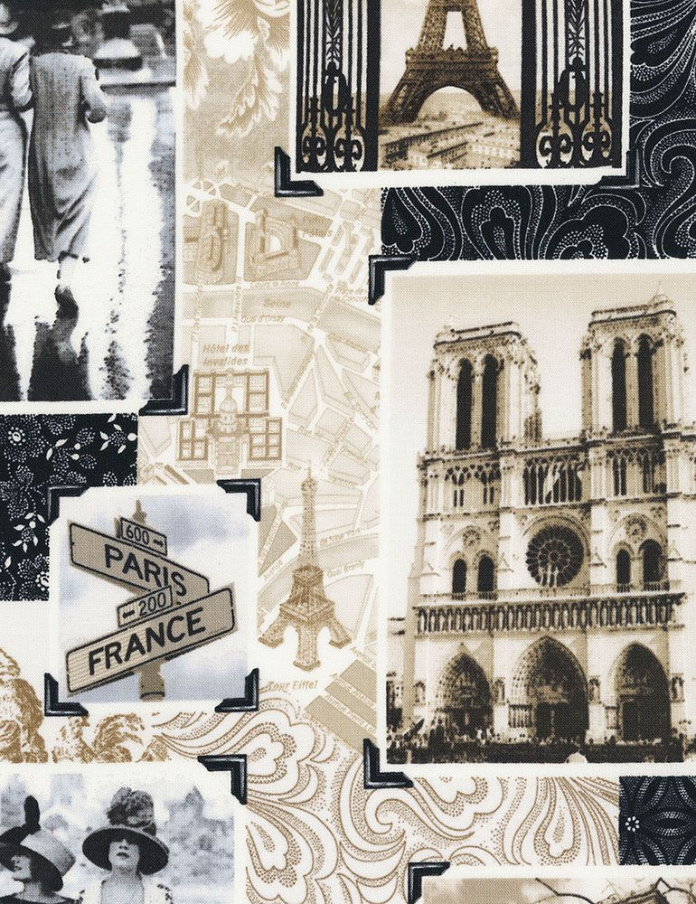 Timeless Treasures Fabric - April in Paris Patchwork - 100% Cotton - 1/4m+