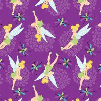 Disney Fabric - Tinkerbell Toss - Purple - 100% Cotton - 1/4m+
