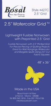 """Bosal - Watercolour Grid - Lightweight Fusible Nonwoven Interfacing - 2.5"""" Printed"""