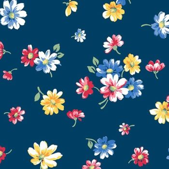 Andover Fabric - Strawberry Jam - Falling Blossoms - Blue - 100% Cotton - 1/4m+