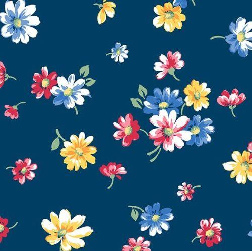 Andover Fabric - Strawberry Jam - Falling Blossoms - Blue - 100% Cotton - 1