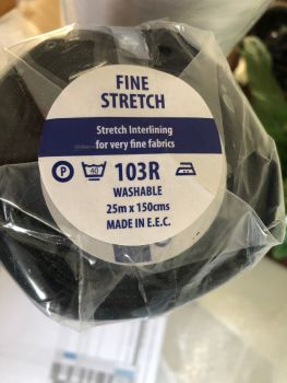 Generic 103R - Knitted bi-stretch, iron on fusible interfacing - black - metre