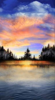 Timeless Treasures Fabric - Sunset Lake Panel - 100% Cotton