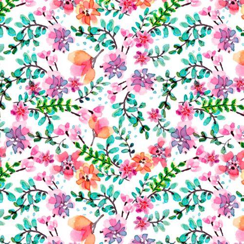 David Textiles Fabric - White Flowers - 100% Cotton - 1/4m+
