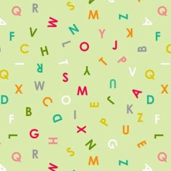 Nutex Fabric - Alphabet Soup - Allover - Green - 100% Cotton - 1/4m+