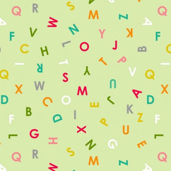Nutex Fabric - Alphabet Soup - Allover - Green - 100% Cotton - 1/4m+