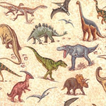 Nutex Fabric - Lost World - Dinosaur Toss - 100% Cotton - 1/4m+
