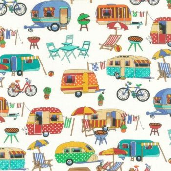 Nutex Fabric - Getaway Camping - 100% Cotton - 1/4m+
