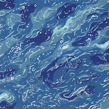 Nutex Fabric - By The Sea - Sea Blue - 100% Cotton - 1/4m+