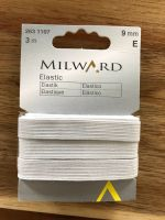 White Flat Corded (Braided) Elastic - 9mm - 3m length