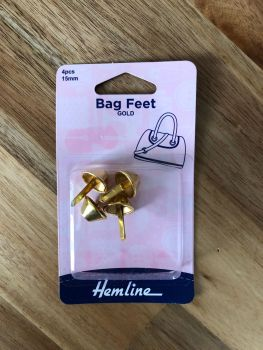 Hemline 15mm Steel Bag Feet - Gold x 4